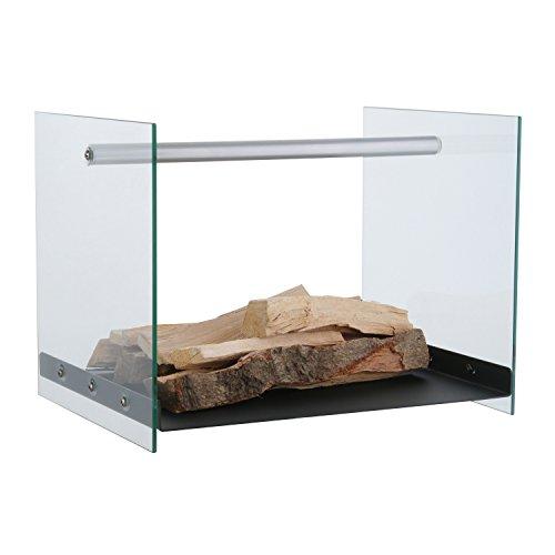 Houten glas van gepoedercoat ijzer. Afmetingen ca. 42 x 33 x 32 cm – decoratieve houtopslag van haardhout – elegant haardaccessoire.