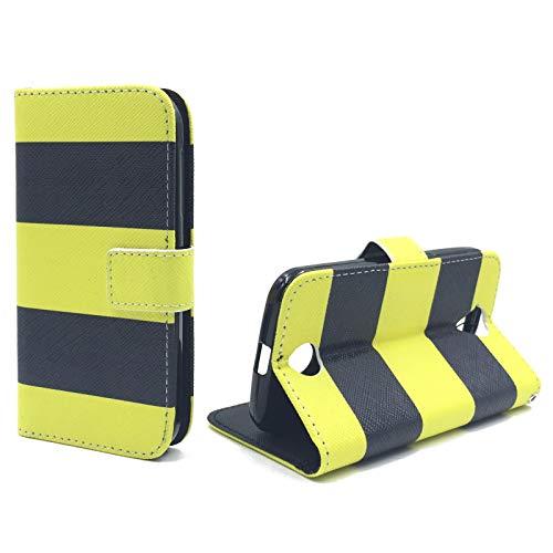 König Design Handyhülle Kompatibel mit Acer Liquid Z330 Handytasche Schutzhülle Tasche Flip Hülle mit Kreditkartenfächern - Gelb Schwarz