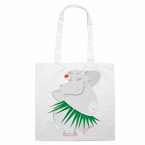 Tasche Umhängetasche Motiv Nr. 10845 Flusspferd Nilpferd im Grasrock Cartoon Spass Fun Kult Film Cartoon Spass Fun Kult F