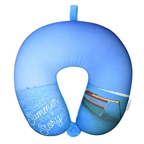 MSNLY Almohada en Forma de U, Almohada de Viaje de partículas de Espuma, Almohada Estampada para el Cuello del avión, Almohada para el Cuello, Almohada para la Salud