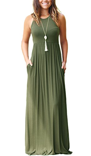 GRECERELLE Women's Sleeveless Long Maxi Dresses Plus Size with Side Pocket Army Green-X-Small