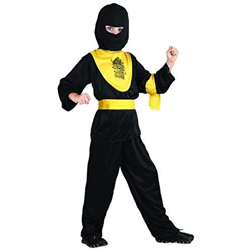 P'TIT CLOWN 87501 Déguisement Enfant Ninja - M - Noir/Jaune