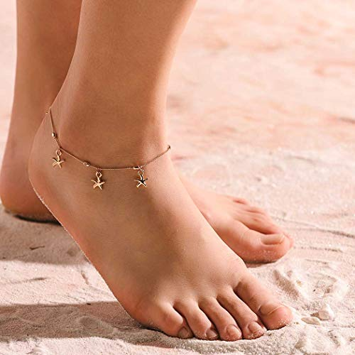 Dreamyn Hawaii Anklets Gold Starfish Ankle Bracelets Beach Baraefoot sandals wedding Foot Chain Foot Jewelry for Women and Girls. (gold)