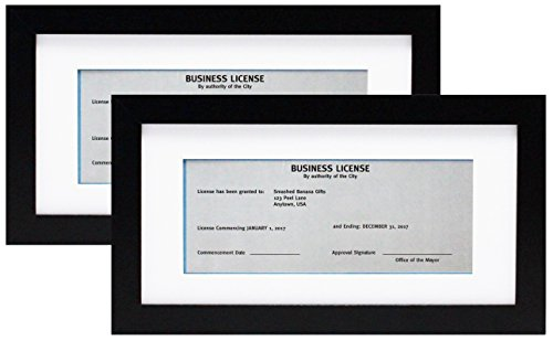 5x10 Black Gallery Business License Frame with 3.5x8 Mat - Two Frames - Wide Molding - Includes Attached Hanging Hardware and Desktop Easel - Display Panoramic Picture or Retail Licenses (2-Pack)