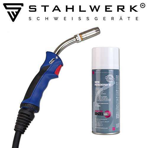 Abicor Binzel MIG MAG-Schweißbrenner 25AK 4m Schlauchpaket Eurozentralanschluss Schweissgeräte, gasgekühlt, leicht, flexibel + Spray
