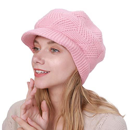 Muryobao Gorro de punto con visera para mujer, C-rosa, Talla única