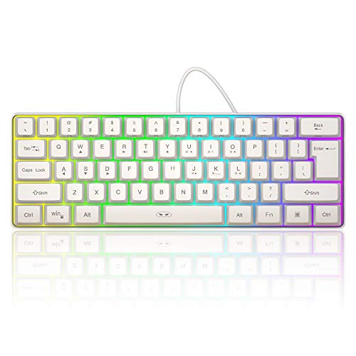 MageGee TS91 Mini 60% Gaming/Office Keyboard,Waterproof Keycap Type Wired RGB Backlit Compact Computer Keyboard for Windows/Mac/Laptop (White)