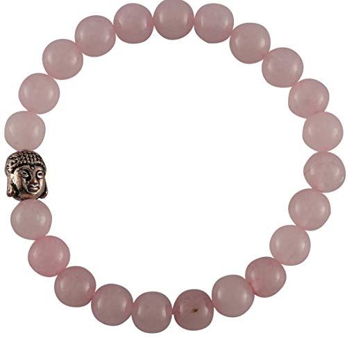 Aatm Natural Healing Gemstone Buddha Charm Bracelet (Rose Quartz)