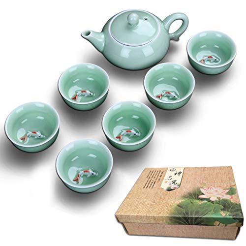 Tetera Taza de té China Porcelana Celadon Pescado Taza de té Conjunto Drinkware cerámica China Kung Fu Juego de té Taza de cerámica Regalo Chino (Color : A)