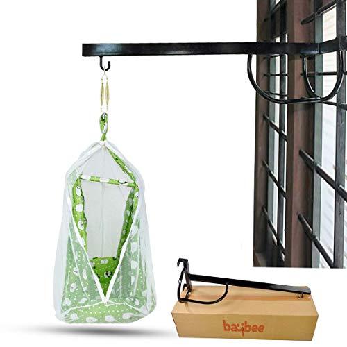 BAYBEE Baby Cradle Metal Hanger- Cradle for Baby Window Cradle Metal Hanger for Baby Size (76 x 26 x 8 cm) - Black