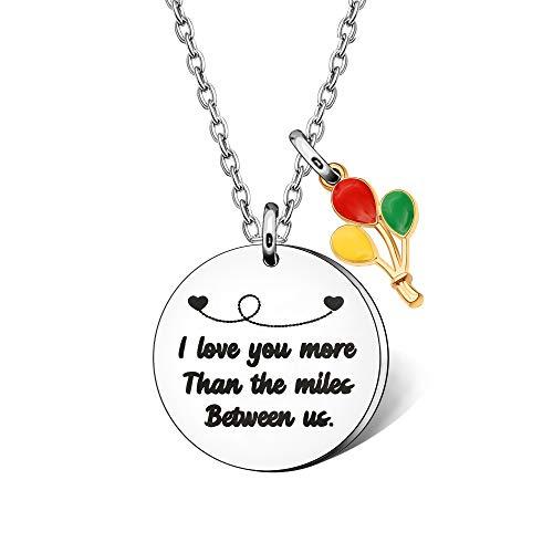 Collar de larga distancia con texto 'I Love You More Than The Miles Between Us Relationship para mujeres y niñas, regalo de viaje