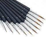 SLKIJDHFB Juego de pinceles de pintura con detalles finos, juego de pinceles de pintura en miniatura de dióxido para acrílico, acuarela, óleo, cara, modelo a escala, dibujo de línea (paquete de 10)