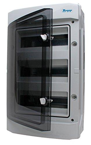 Kopp 353813049 Aufputz-Feuchtraum-Verteiler mit Tür 3-reihig für 36 Pole, grau/schwarz