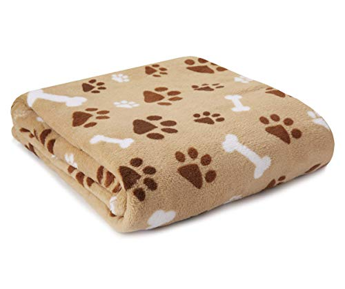 JustHome Fun Print Soft Cozy Lightweight 50 x 60 Fleece Throw Blanket (Tan with Brown and White Puppy Paw and Bone)