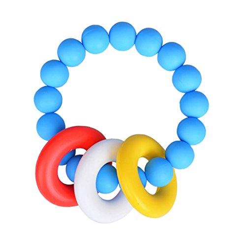 MagiDeal Bracelet de Dentition Bébé Silicone Crochet Perles Kid Saisissant Nursing Jouet - Bleu