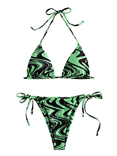 SOLY HUX Women's Floral Print Halter Triangle Tie Side Bikini Set Two Piece Swimsuits Green Multi S
