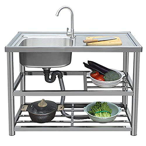 KITCHEN SINK Stainless Steel Simple with Stand, Dishwashing/Face Washing Mobile Outdoor, Hotel/Restaurant/Factory/Laundry Indoor and Outdoor Clean Sink