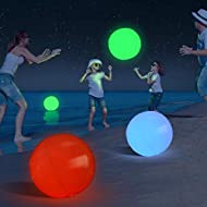 Large Floating and Inflatable LED Glow in The Dark Beach Ball Toy with Color Changing Lights | Great for Summer Parties, Pool/Beach Parties, Raves, or Blacklight/Glow Parties (1 PCS)
