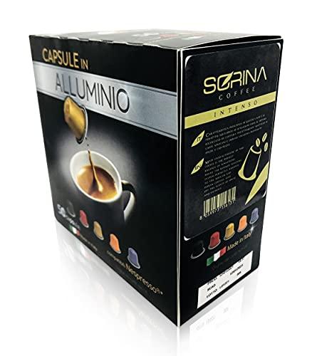 SORINA Cápsulas de café Nespresso de aluminio – Intenso cápsulas de café para cafetera Nespresso – Pack de 50 cápsulas...