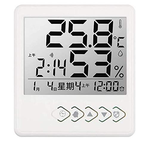 WYZQ Medidor Digital LCD de Temperatura y Humedad, higrómetro Interior Exterior para el hogar, estación meteorológica, Reloj con luz de Fondo, Relojes