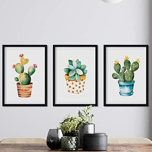 Nacnic Pack de 3 láminas para enmarcar Cactus. Estilo Acuarela. Tamaño A4.