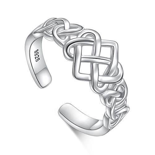 Celtic Knot Heart Ring 925 Sterling Silver Adjustable Wedding Band Stackable Rings for Women Size 7