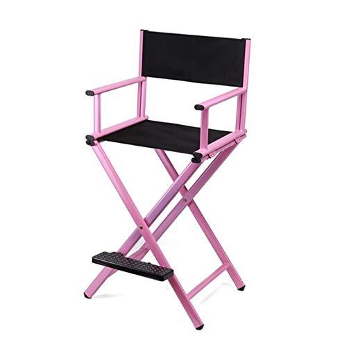 OYZK Alto Marco de Aluminio Maquillaje Artista Director Silla Plegable mobiliario Exterior liviano portátil portátil Director Maquillaje Silla (Color : Pink Color)