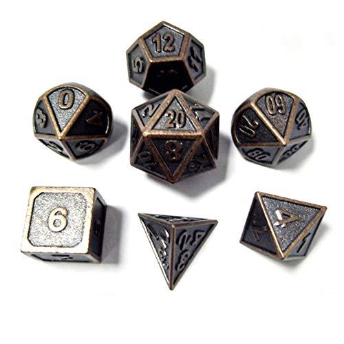 Metall Polyedrische 7-Die Würfel Set Für Dungeons and Dragons RPG Würfel Gaming Für D&D Mathematik Lehre, A4 Sril
