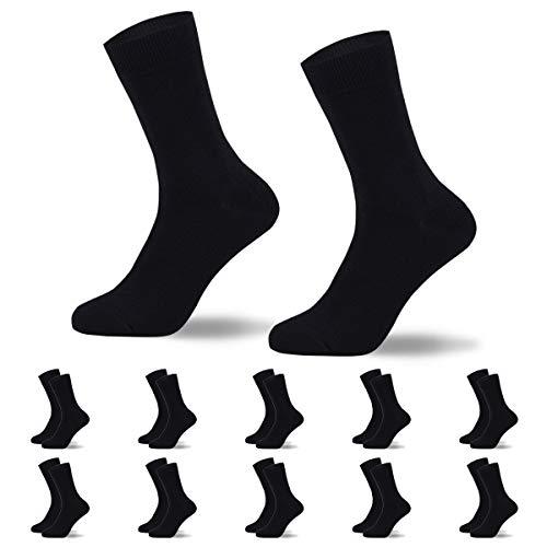 YOUCHAN calcetines hombre algodon negros 10 Pares Ejecutivos Negros de Algodón Transpirables Uso Diario-Negro-4750