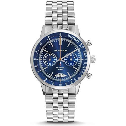Jack Mason Chronograph Mens Watches (Navy & Steel Racing w/Bracelet Strap)
