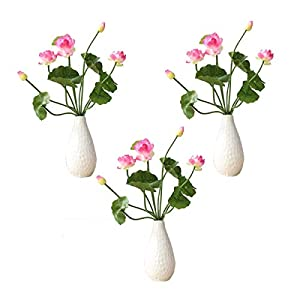 Artificial Lotus Fake Flowers Bouquet 5 Heads/Bundle with Leaves Real Looking Lotus for Wedding Home Party Living Room Hotel Decorations 3Pack