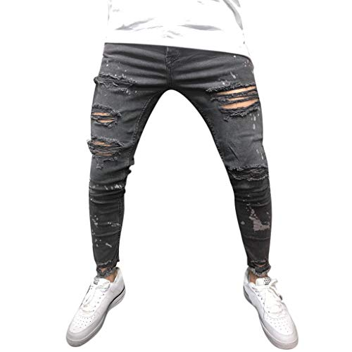 Men's Skinny Jeans Slim Fit Stretch Spring Autumn Teen Boys Destroyed Ripped Denim Pants Jeans (Black, XXXL)