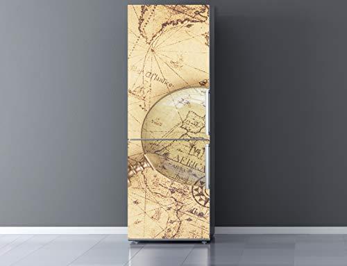 Vinilo Frigorífico Mapamundi Antiguo 185x60cm | Varias Medidas | Pegatinas de Nevera Económicas y Elegantes | Vinilo Nevera