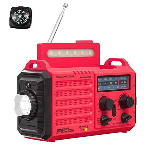 5-Way Powered Weather Radio/Camping Lantern/Reading lamp/Flashlight,Outdoor Emergency Solar Crank Portable Radio with AM/FM/Shortwave/NOAA Weather Alert SOS Alarm USB Charger Rechargeable Battery
