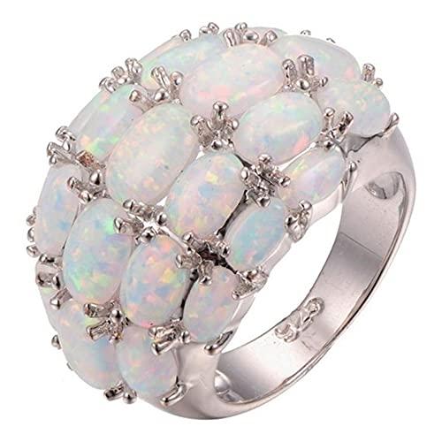 Anillo de ajuste completo de ópalo Accesorios de piedra para mujer Joyería personal especial Regalo de mineral colorido
