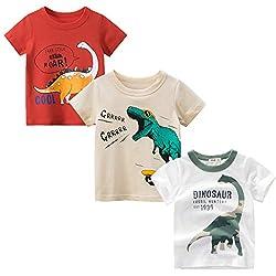 4. BIBNice Boys Dinosaur Short Sleeve Summer Shirt
