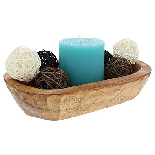 Rustic Curiosities Mini Dough Bowl - For Decor or Display - Hand Carved 9.75 Inches Long For Fruit, Bread, Moss and Rattan Wicker Balls and More - Farmhouse Decorative Wood Bowl