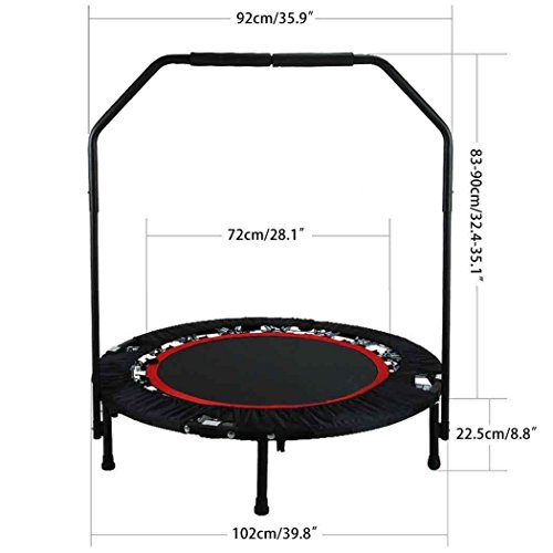 cooshional Trampolino Pieghevole per Fitness Allenarsi con 40 Pollici Larghe con corrimano Regolabile