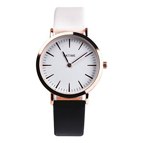 Souarts Damen Armbanduhr Farbverlauf Armband Einfach Stil Analoge Quary Uhr 24cm (Weiß-Schwarz Farbverlauf)
