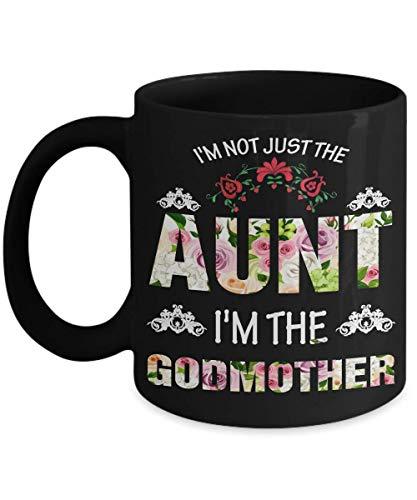 N\A Taza bamerand para tía y Madrina - Negro - no Soy Solo la tía, Soy la Taza de café de la Madrina - Idea de Regalo para tía y Madrina de la Taza de té del Amante de la ahijada
