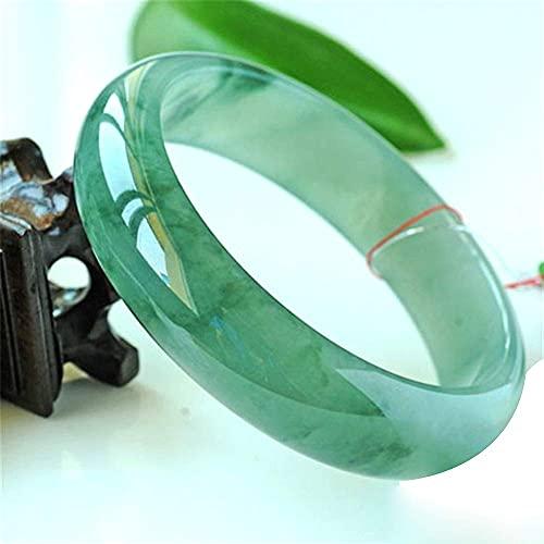 FEEE-ZC Brazalete de Pulsera de Jade de Flor Transparente con Semillas cerosas de Hielo Natural