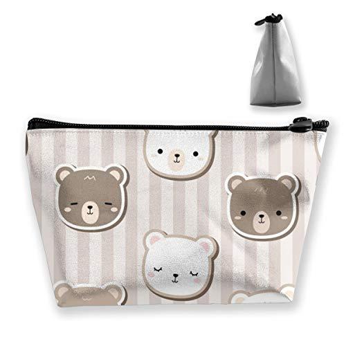 Multi-Functional Print Trapezoidal Storage Bag for Female Bear Doodle Stripe