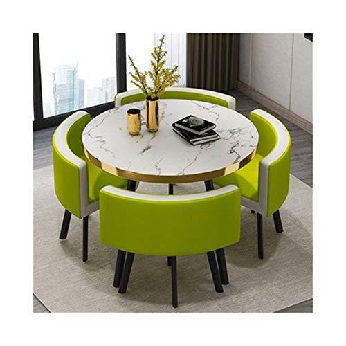 TXOZ-Q Negociación de 5 Piezas de café Sofá Asiento de la Silla Tabla Inicio de época Moderna combinación Simple recepción del Cuero del Ocio Oficina Salón (Color : Green)