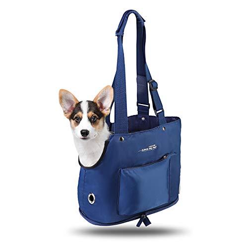 Hundetasche für Kleine Hunde, SUPERNIGHT Tragetasche/Schultertasche Faltbar Träger Pet carrier bag katzentragetaschen bis 6KG Kleintiere Kaninchen Hund Katze für Spaziergang zu Fuß, Dunkelblau