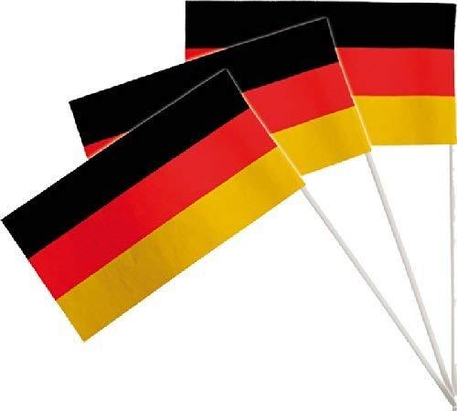 DH-Konzept 10 Fähnchen * Deutschland * als Deko für Mottoparty oder Fussball-Party // Public Viewing Fussball Soccer schwarz rot Gold Flaggen Fahnen Papierfahnen WM EM