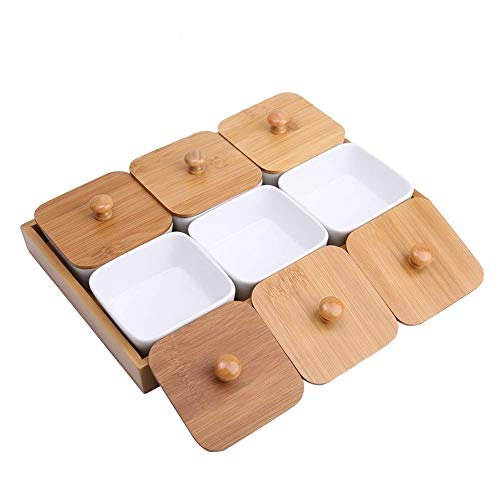 Cafopgrill Tabelle Snack Serving Appetizer Plate Dish Wüste Vorspeise Serving Set Porzellan Square Ramekins Souffle Snack Dish Schalen auf Holzbrett(6-Compartment)