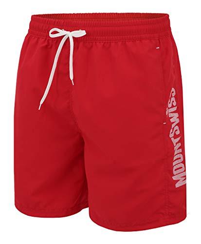 Mount Swiss Herren Badehose Lenny mit seitlichen Taschen und Gesäßtasche I Bequeme Badeshorts in Farbe red, Gr. 3XL