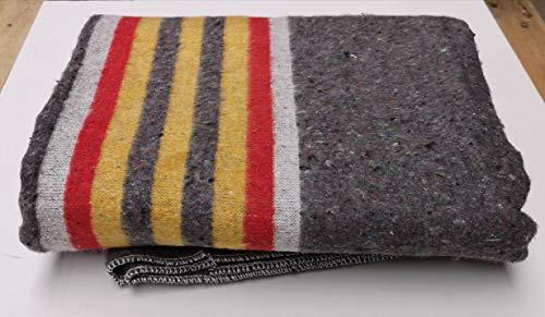 Lot de 10 couvertures de déménagement rayées jaunes, rouges et blanches - 150 x 200 cm, 1350 g