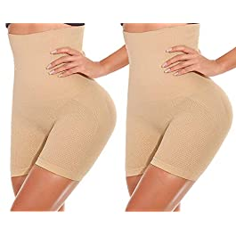 ANGOOL Women's Shapewear Tummy Control Thigh Slimmer High Waist Body Shaper Slimming Briefs Shaping Knickers Butt Lifter Boyshorts Panty