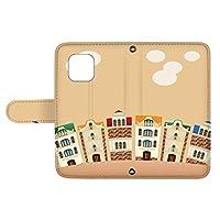 スマQ iPhone11 iPhone 11 国内生産 カード スマホケース 手帳型 Apple アップル アイフォン イレブン 【C.オレンジ】 町並み イラスト ami_vd-0252